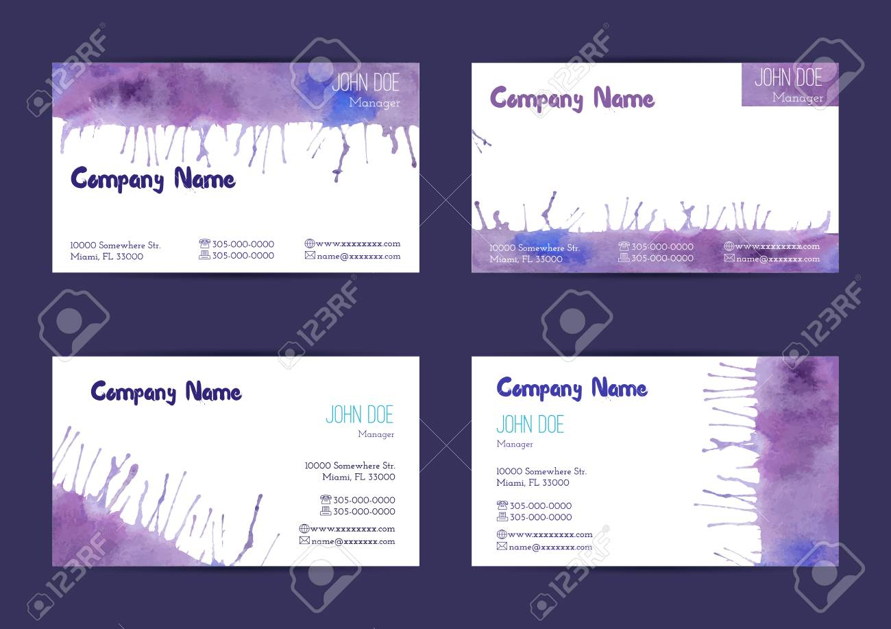 Set Of Hand Painted Watercolor Horizontal Business Card Templates ...