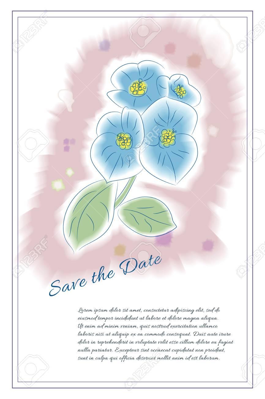 Modelo De La Tarjeta Flor Dibujada A Mano En Estilo De La Acuarela Elemento De Diseño Floral Perfecto Para Invitaciones De Boda Ahorra La Fecha
