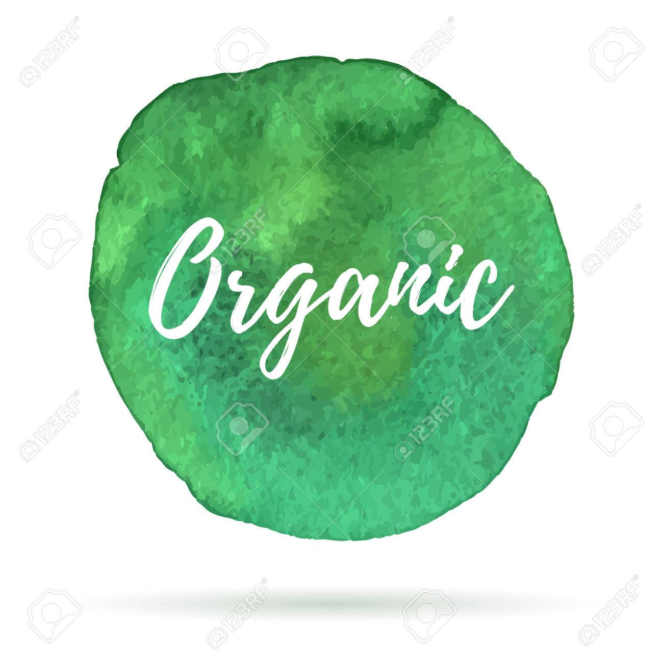 Ecology icon on abstract watercolor paint blot on a white background. Eco, organic icons with shadow. Healthy food concept. - 61427580