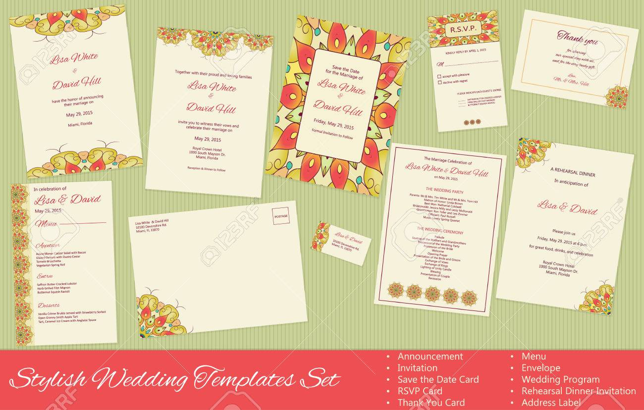 Stilvolle Hochzeit Vorlagen Eingestellt. Ankündigung. Einladung ...