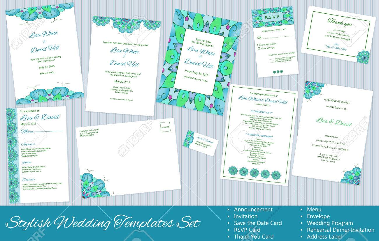 Stylish wedding templates set announcement invitation save stylish wedding templates set announcement invitation save the date rsvp thank stopboris Image collections