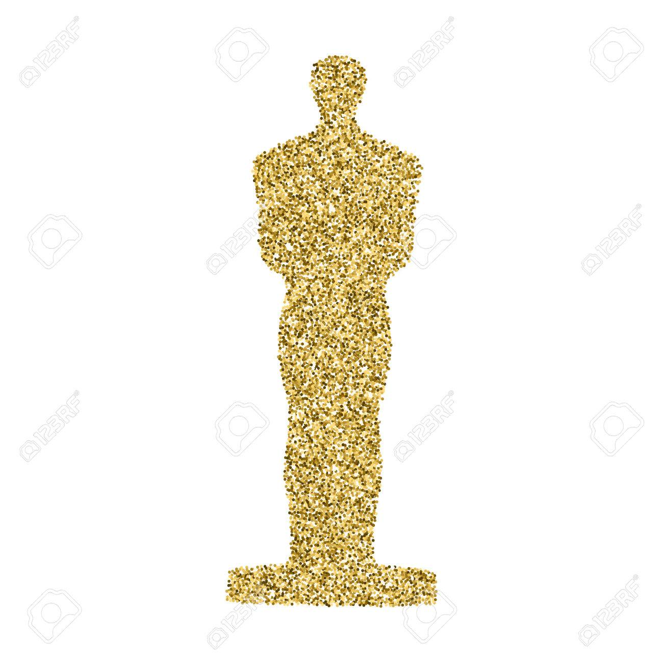 Golden Statue Confetti Glitter Icon Isolated On White Background Easy To Use And Edit Graphic