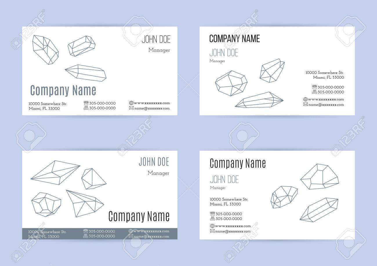 Collection Of Business Cards With Geometric Outline Shapes Of