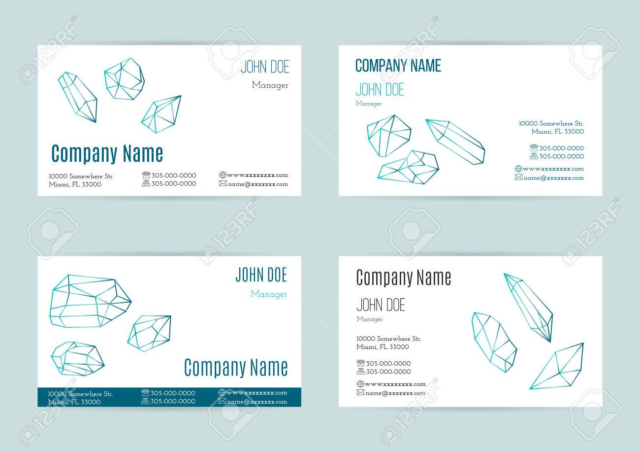 Collection Of Business Cards With Geometric Outline Shapes Of ...