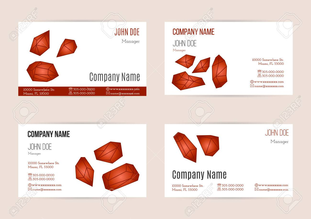 Collection Of Business Card Templates With Geometric Polygonal ...