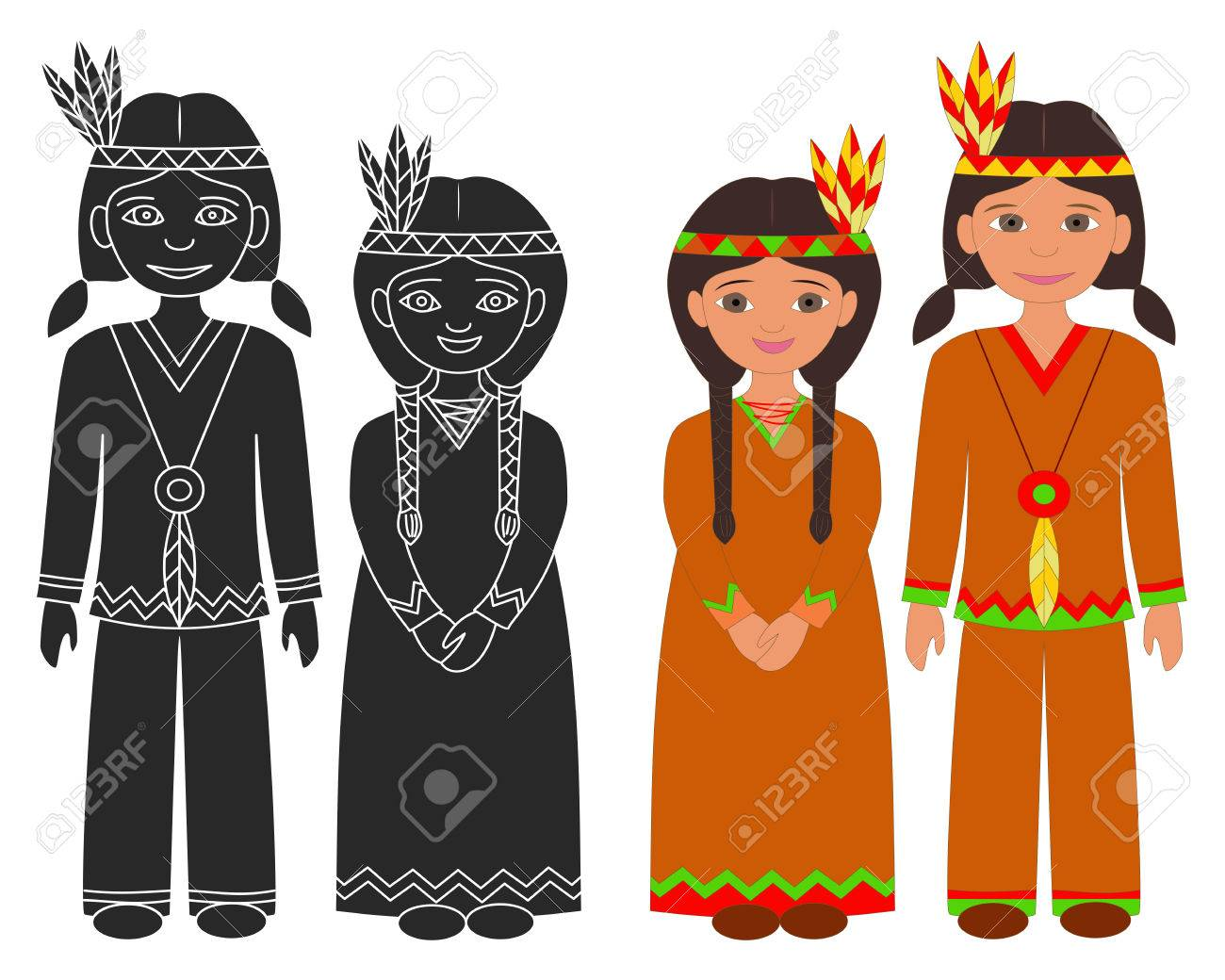 Hand Drawn Native American Indian Boy And Girl Thanksgiving Isolated Graphic Elements On White Background