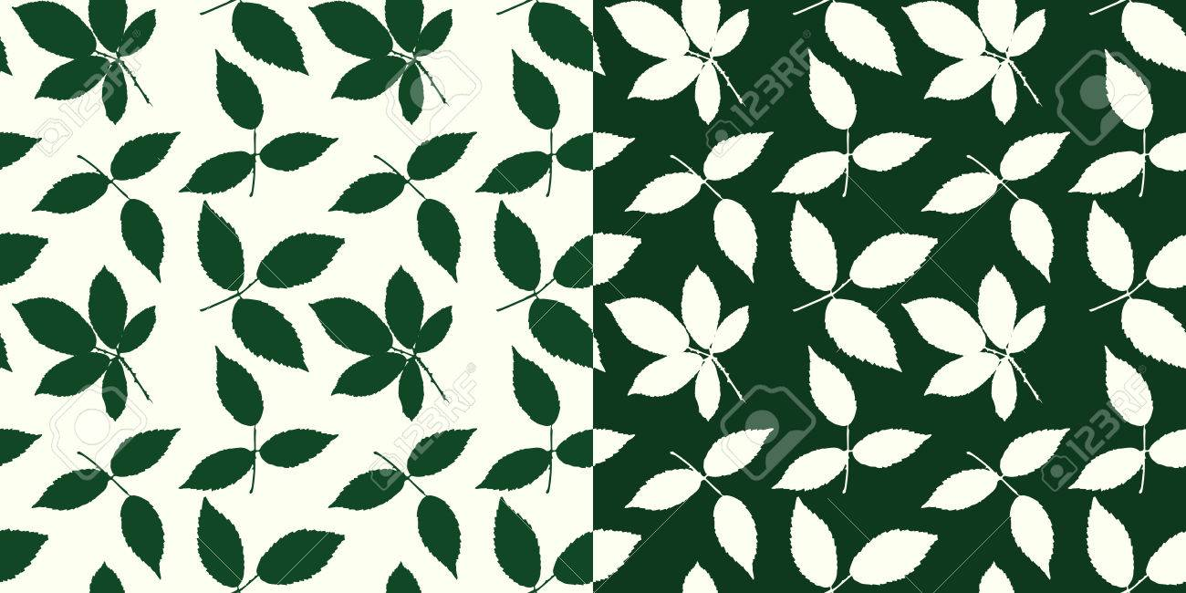 Set of seamless patterns with different types of leaves