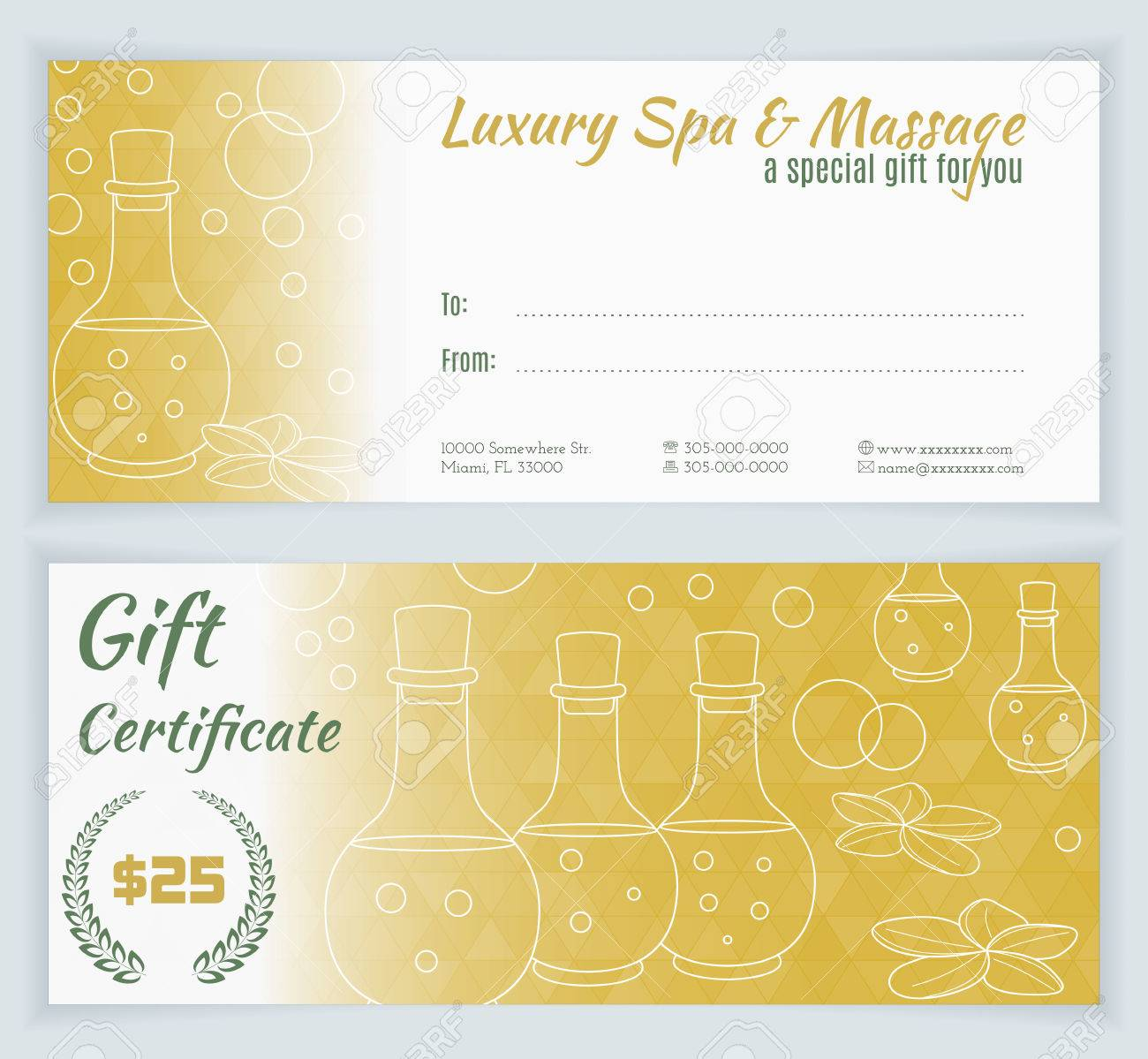 Spa massage gift certificate template hand drawn bottles of spa massage gift certificate template hand drawn bottles of mineral oils and plumeria xflitez Images