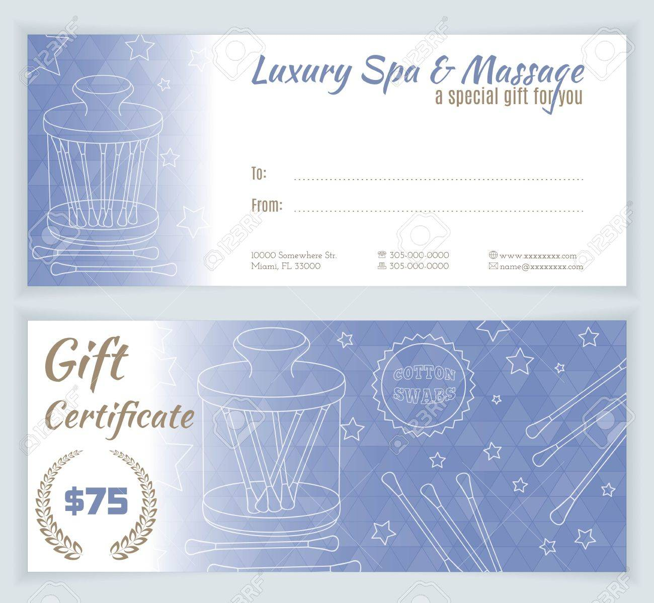 Spa Massage Gift Certificate Template With Hand Drawn Jar With - Free massage gift certificate template