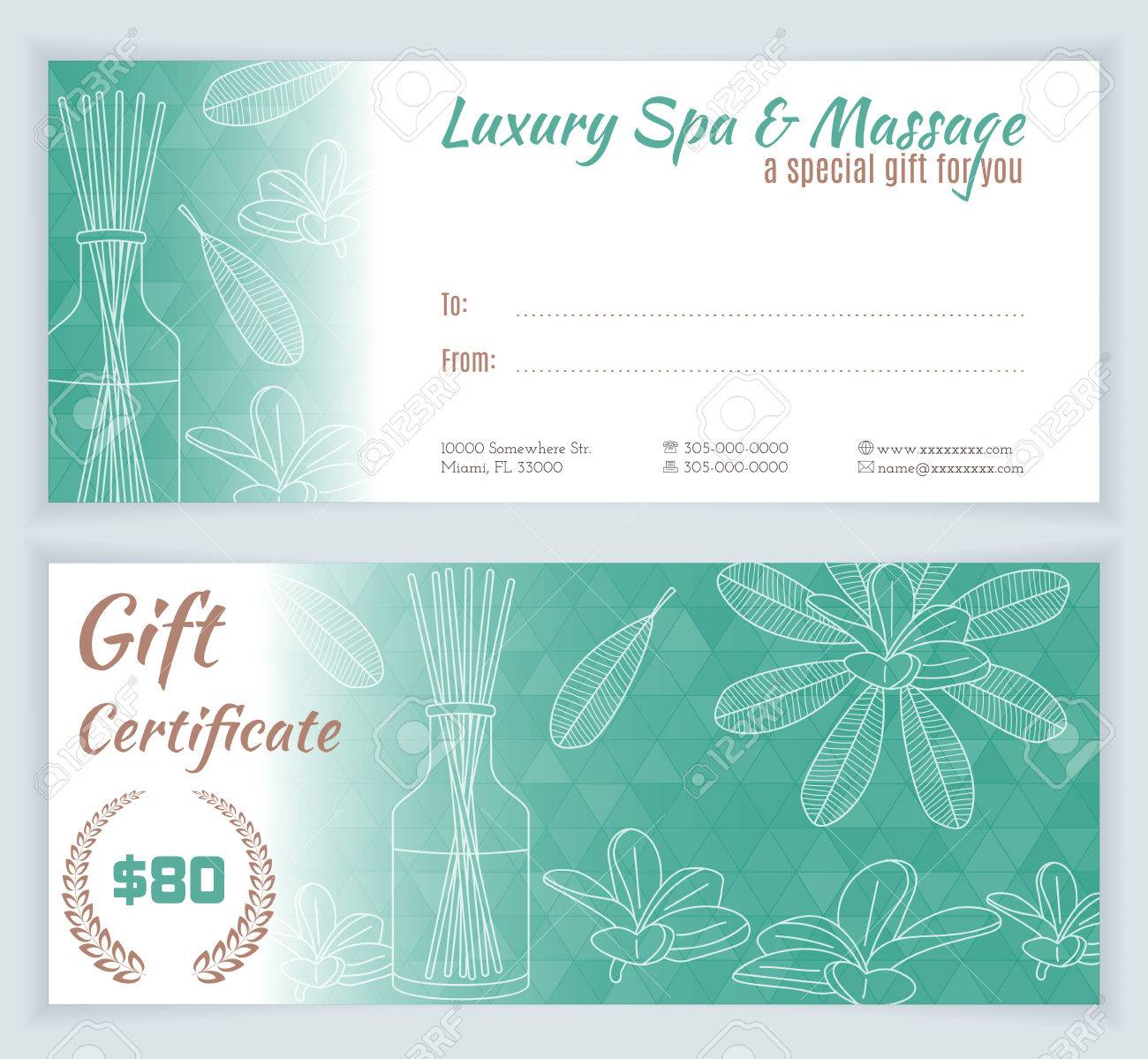 Spa massage gift certificate template with hand drawn reed spa massage gift certificate template with hand drawn reed fragrance diffuser stock vector yadclub Choice Image