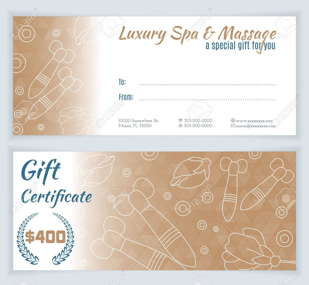 spa massage gift certificate template with hand drawn thai massage tools stock vector