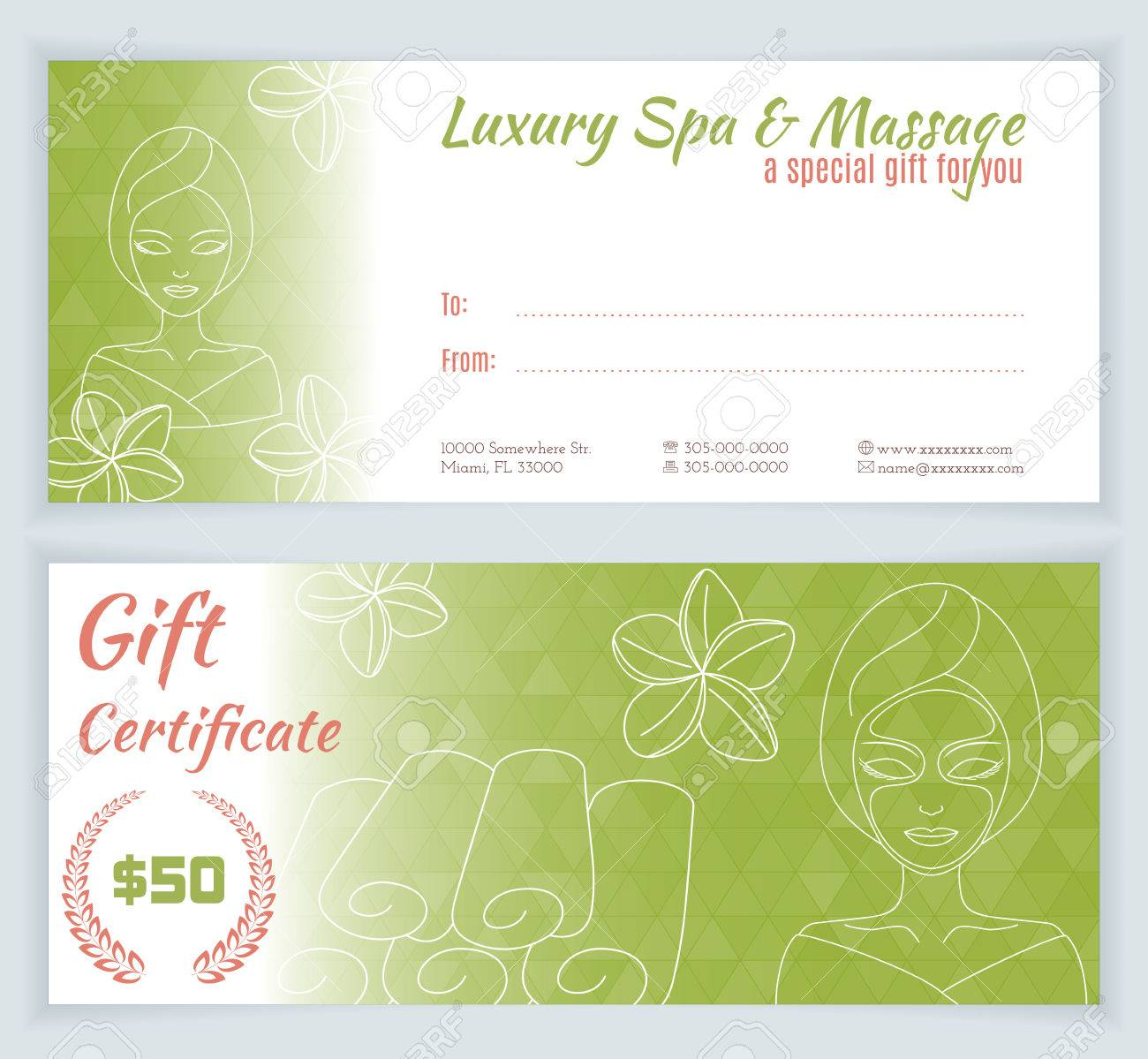 spa massage gift certificate template with hand drawn woman with mask stock vector