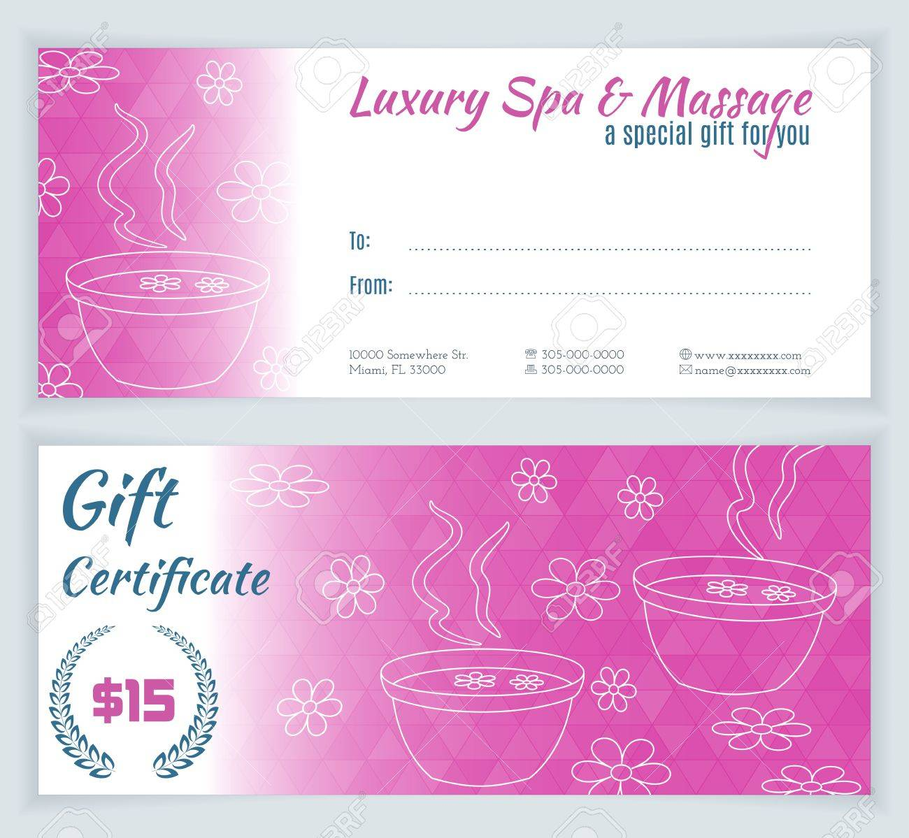 Spa Massage Gift Certificate Template With Hand Drawn Foot Bath - Massage gift certificate templates