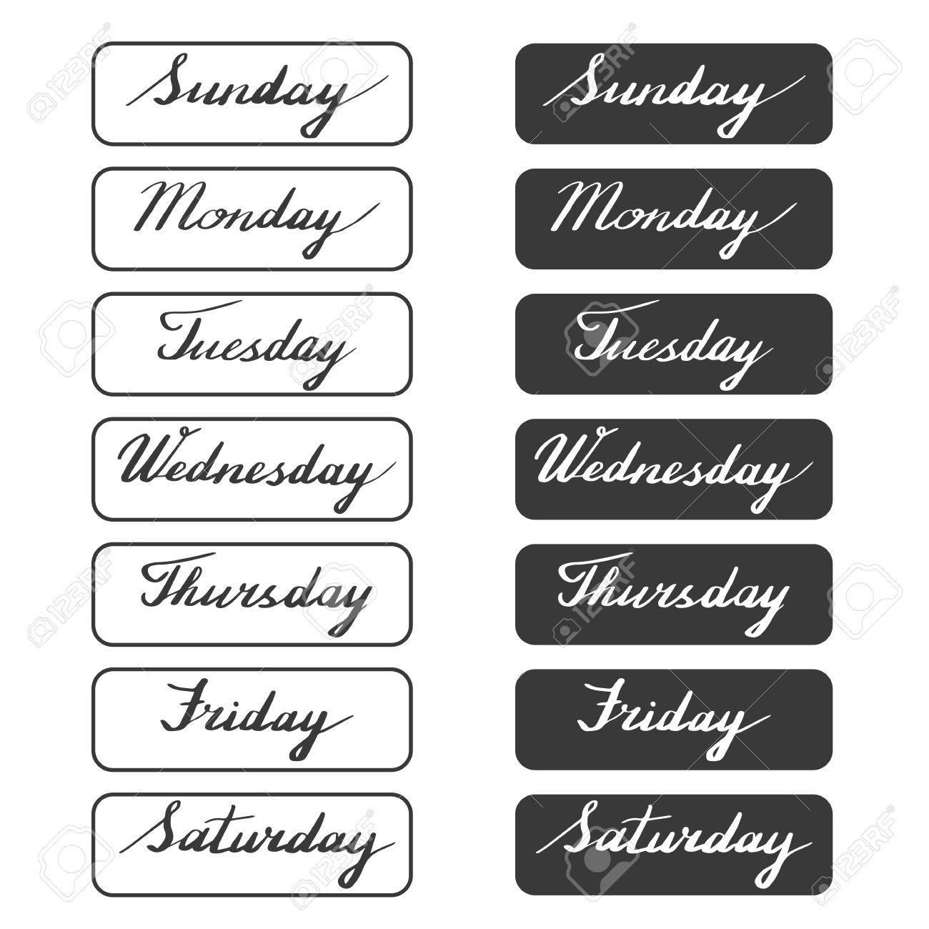 手書きの曜日 月曜日 火曜日 水曜日 木曜日 金曜日 土曜日 日曜日