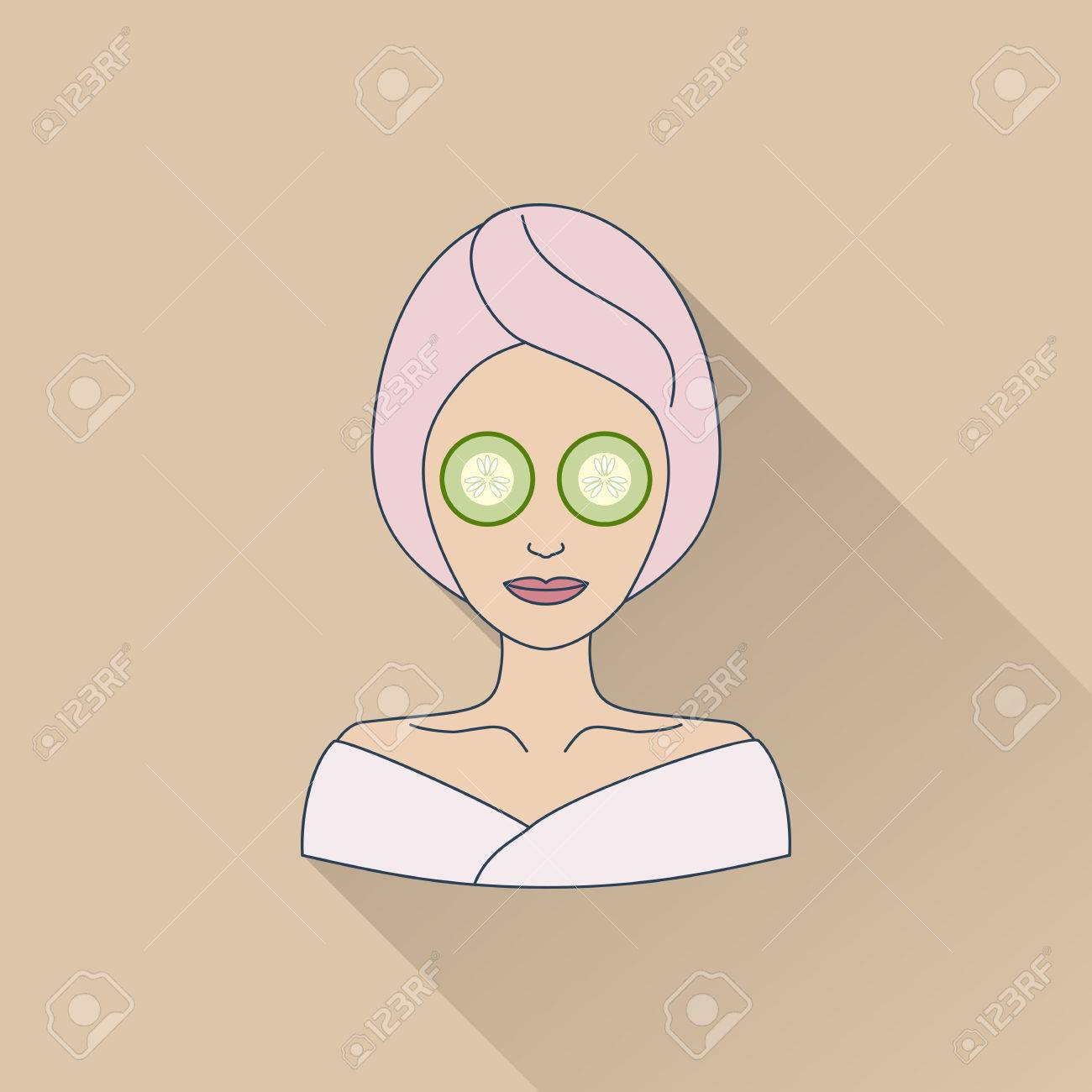 Hand drawn beautiful woman with eye mask flat icon with long hand drawn beautiful woman with eye mask flat icon with long shadow concept for pronofoot35fo Gallery