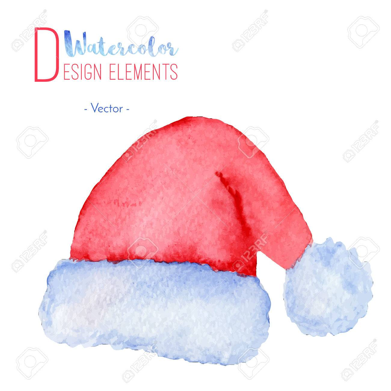 a6a869fa74a14 Hand painted watercolor Santa Claus red hat. Watercolour Christmas cap  icon