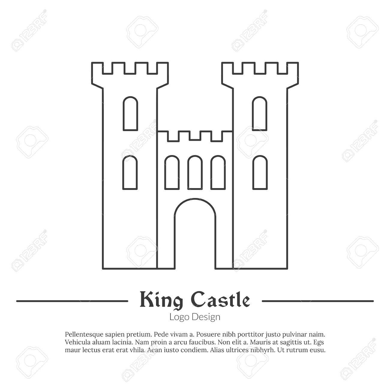 65714876 medieval king castle tower fortress in modern thin line style isolated on white background outline m medieval king castle, tower, fortress in modern thin line style