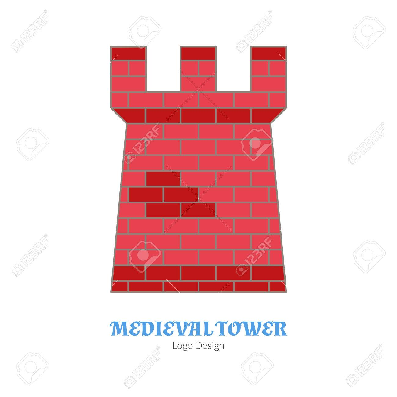 Vector Illustration Medieval Tower Fortification Single Logo Modern Flat Thin Line Style Isolated On