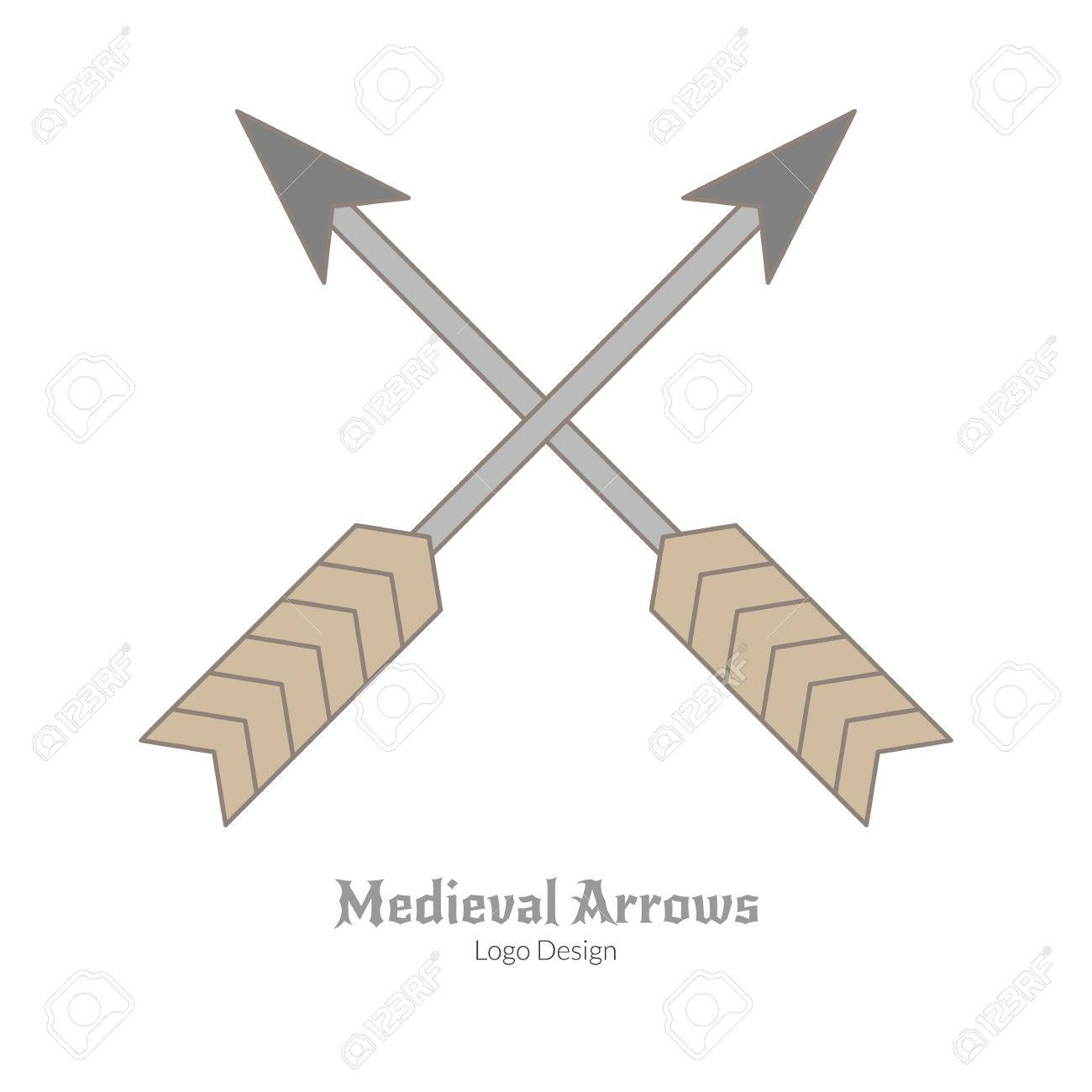 Medieval crossed arrows  Single archery logo in flat and thin