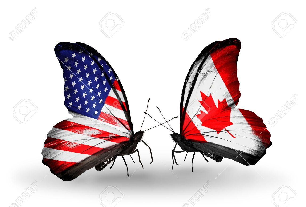 bb7655a53b0 Stock Photo - Two butterflies with flags on wings as symbol of relations USA  and Canada