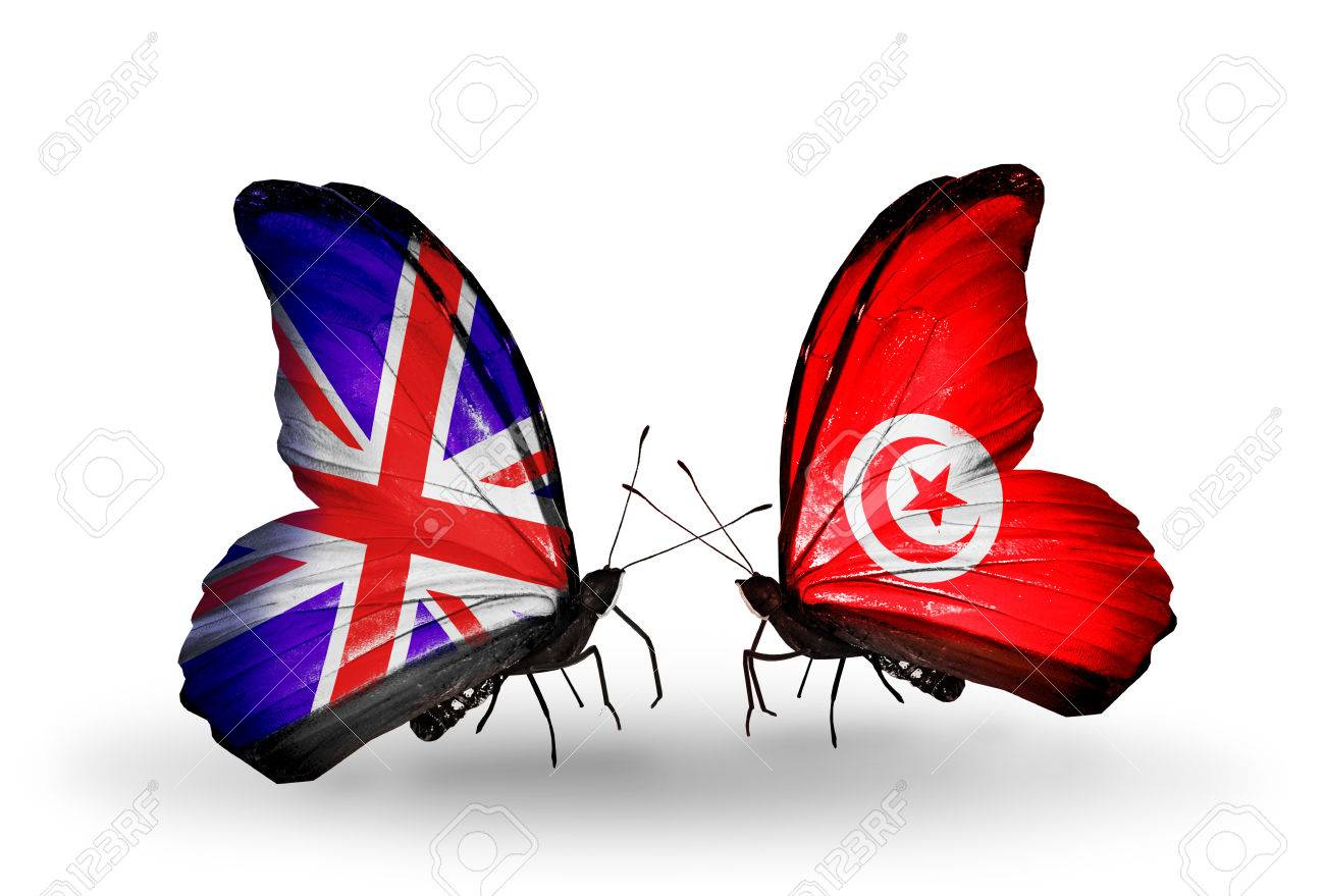 Two butterflies with flags on wings as symbol of relations uk two butterflies with flags on wings as symbol of relations uk and tunisia stock photo biocorpaavc Images