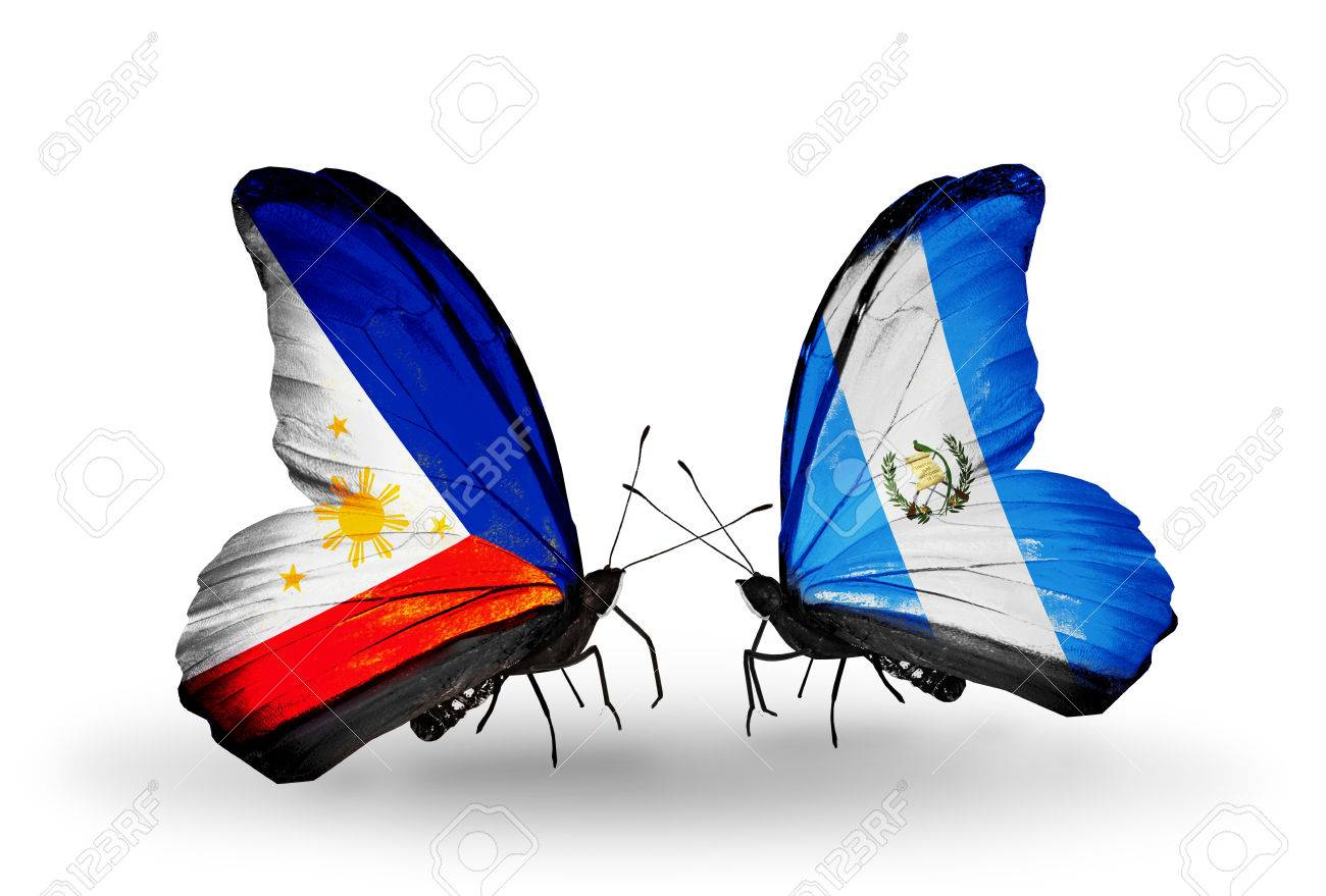 Two butterflies with flags on wings as symbol of relations two butterflies with flags on wings as symbol of relations philippines and guatemala stock photo buycottarizona Images