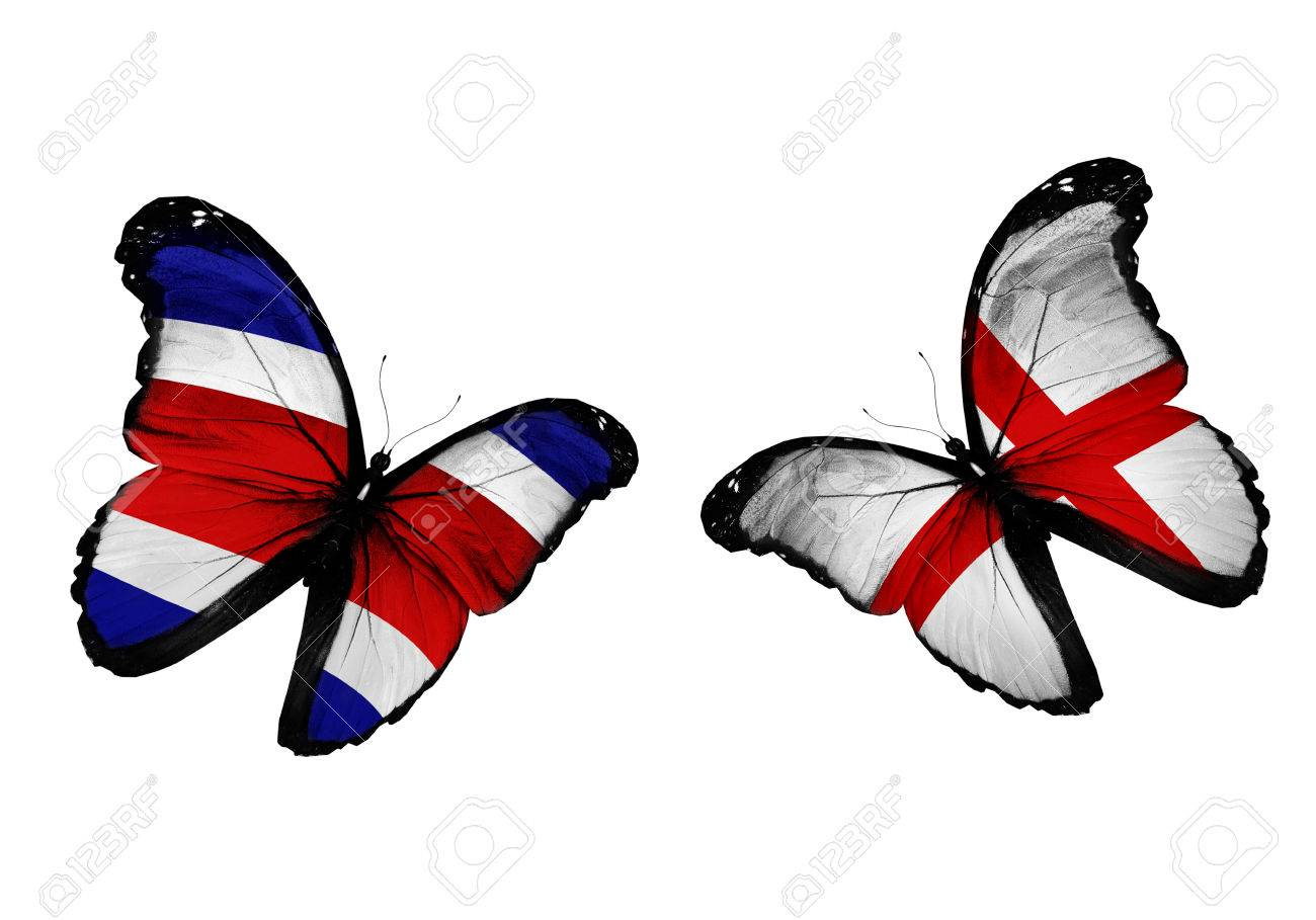 concept two butterflies with costa rica and england flags flying