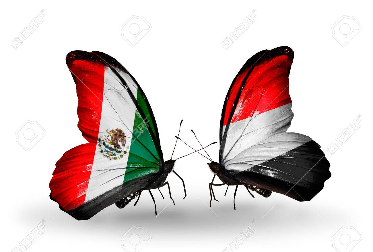 Two Butterflies With Flags On Wings As Symbol Of Relations Mexico