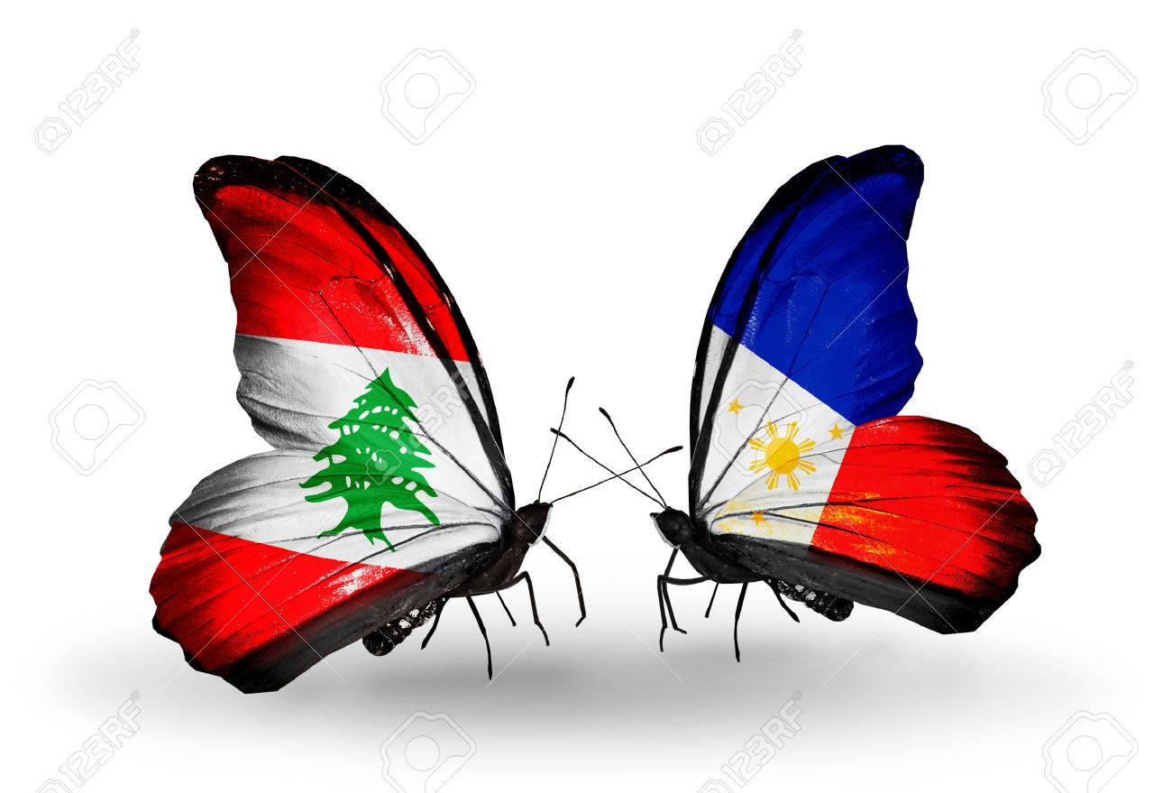 Two butterflies with flags on wings as symbol of relations lebanon two butterflies with flags on wings as symbol of relations lebanon and philippines stock photo buycottarizona Images