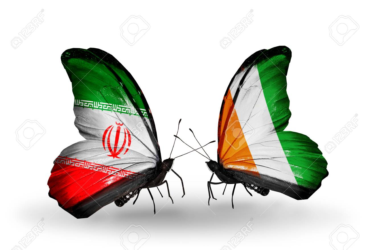 Two butterflies with flags on wings as symbol of relations iran two butterflies with flags on wings as symbol of relations iran and cote divoire stock photo buycottarizona Choice Image