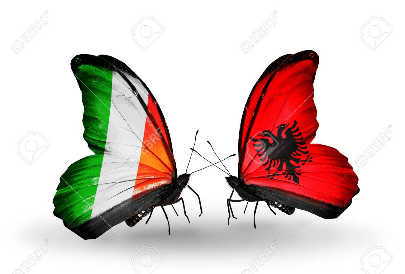 Two Butterflies With Flags On Wings As Symbol Of Relations Ireland