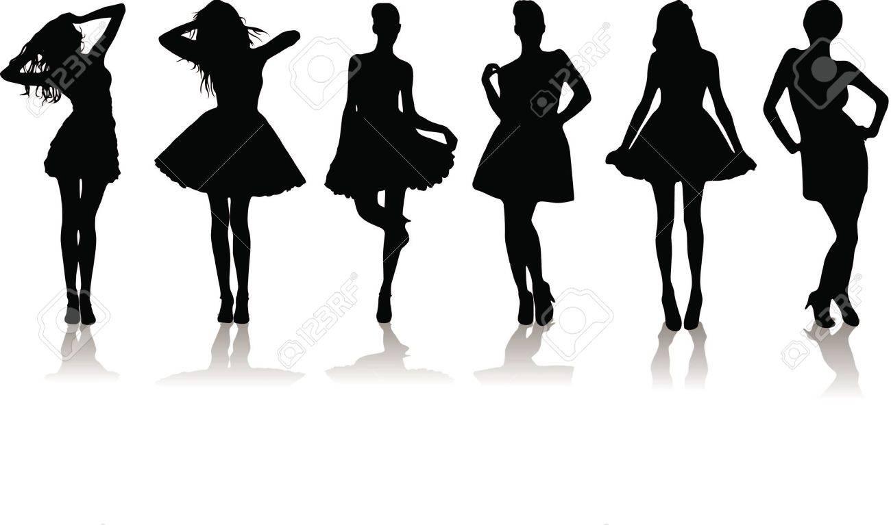 силуэтные линии фасонов 9169419-new-set-of-various-beautiful-model-girls-in-dress--Stock-Photo