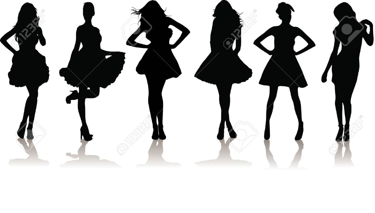 new set of various beautiful model girls in dress. Stock Vector - 9169421