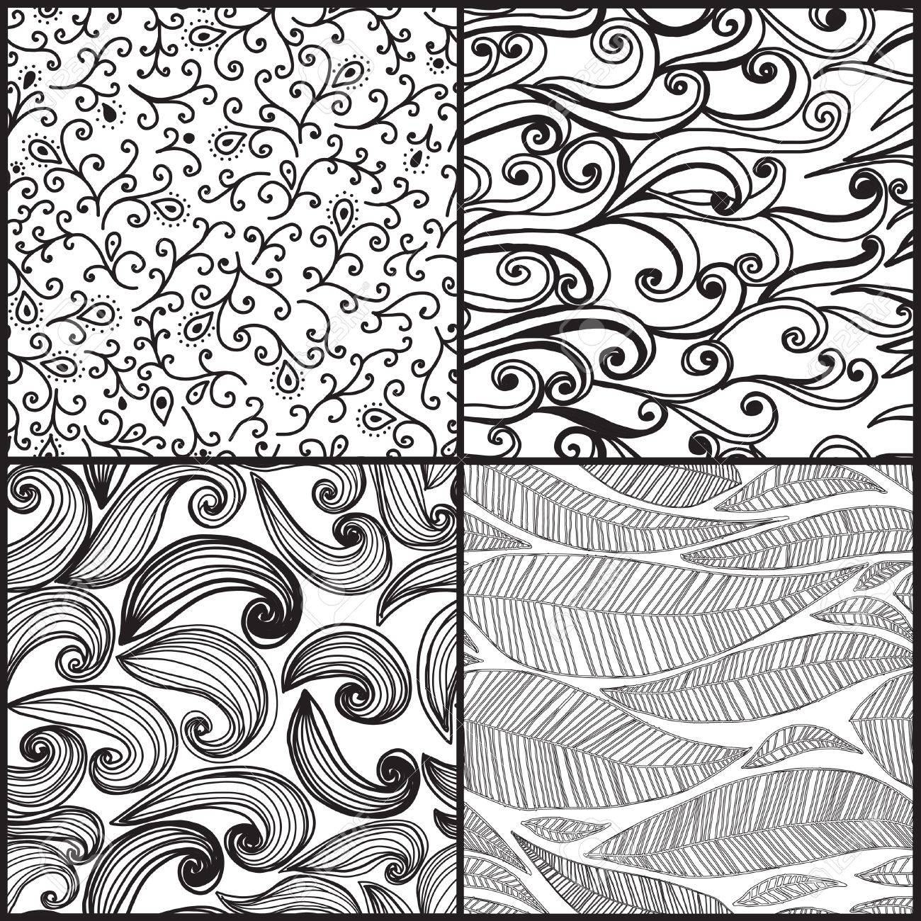 Set of four seamless abstract hand-drawn pattern Stock Vector - 15595390