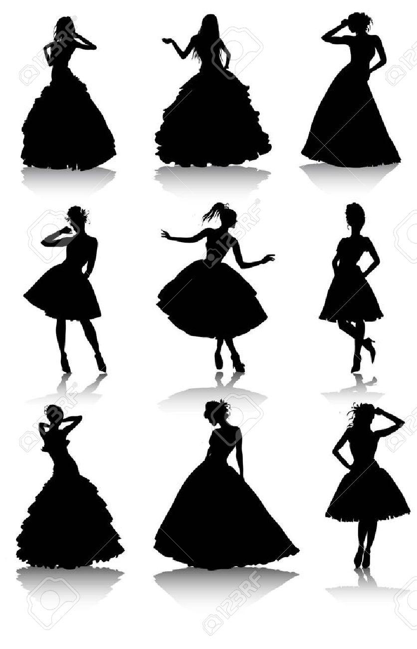 ドレスの様々 な美しいモデルの女の子のイラストのセット女性の女の子