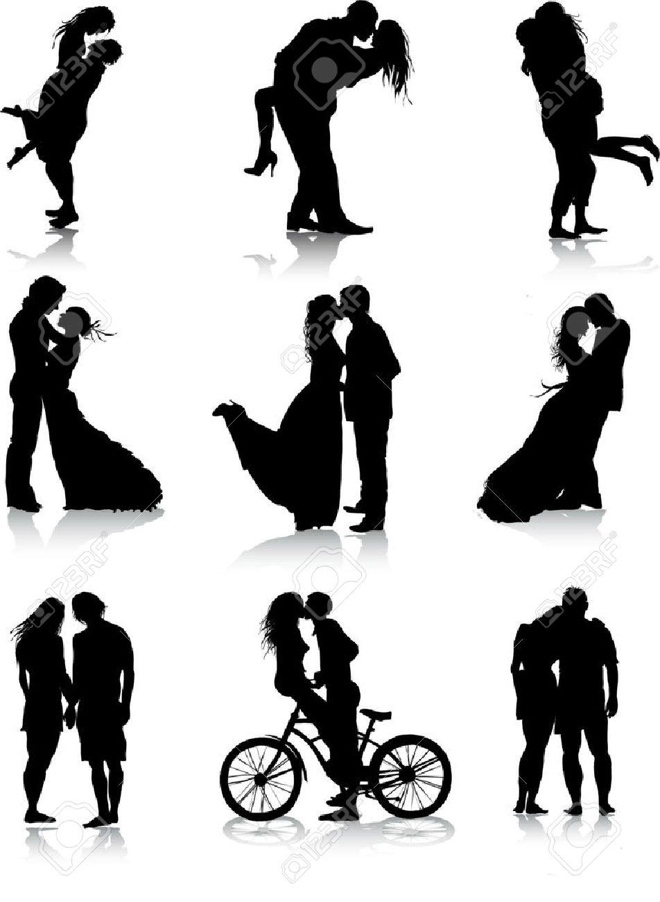 Romantic couples silhouettes - 32489328