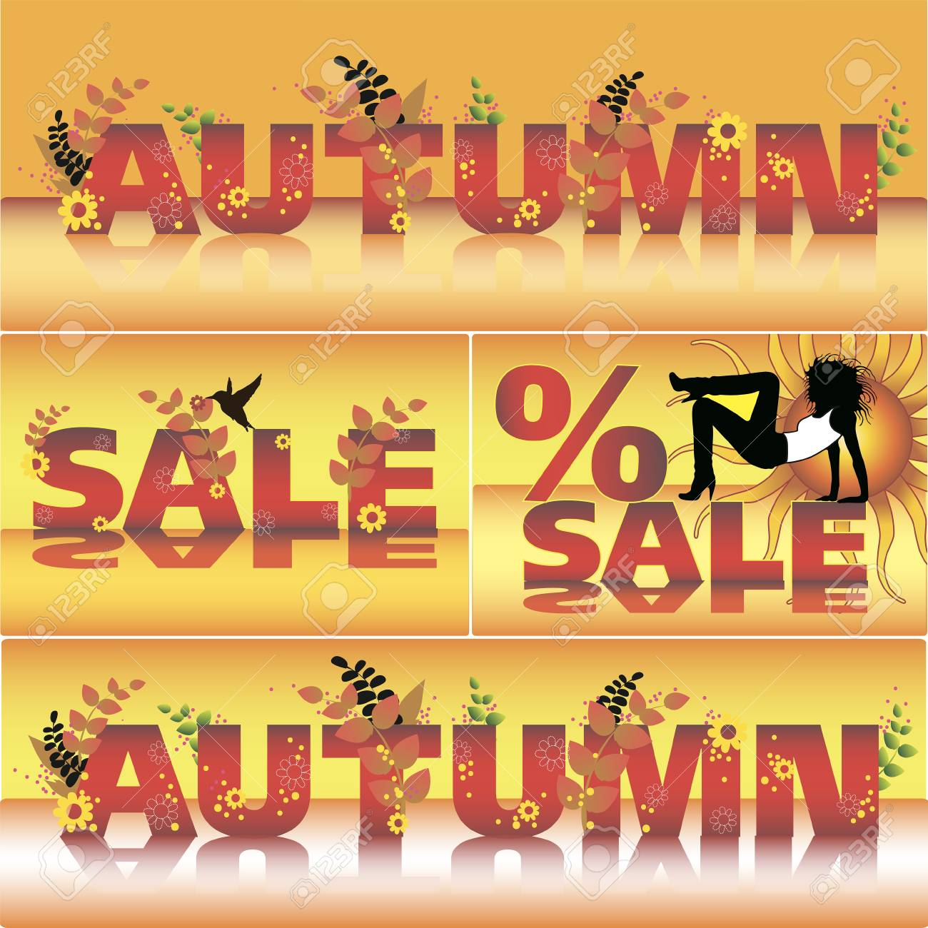 set of autumn vector sale poster design template fall sale design