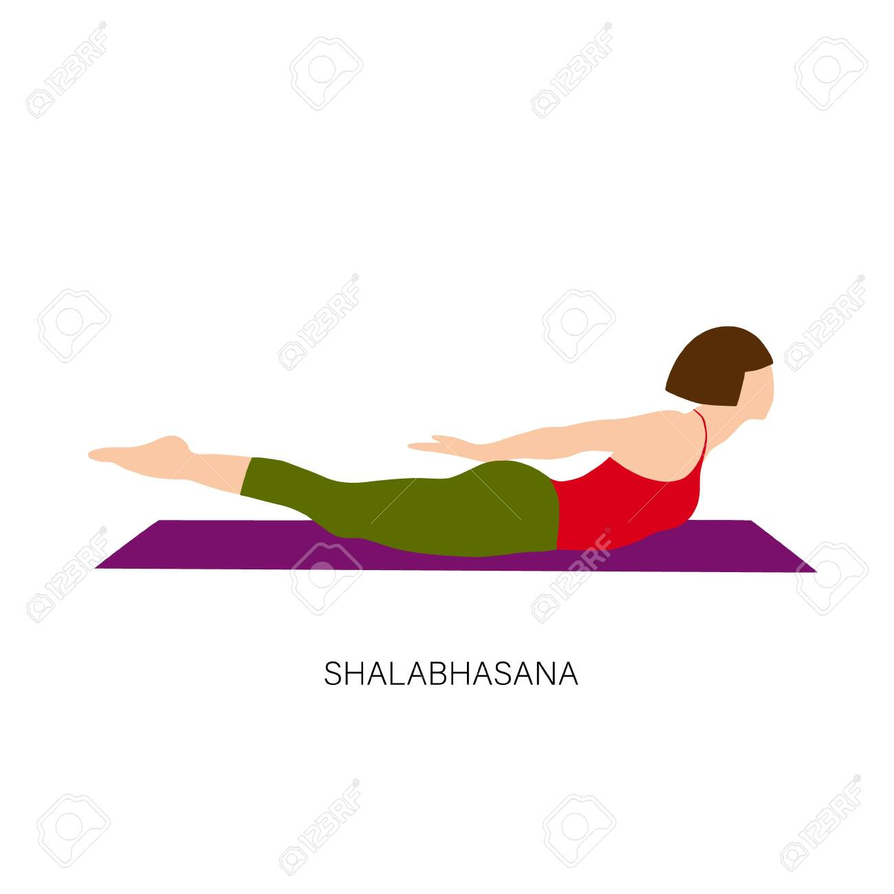 Yogi woman in Shalabhasana or Locust Pose or Grasshopper Pose..