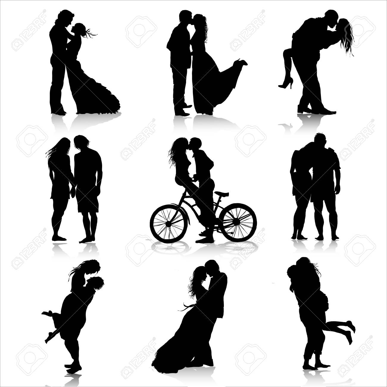 Romantic couples silhouettes. Love couple - 149548859