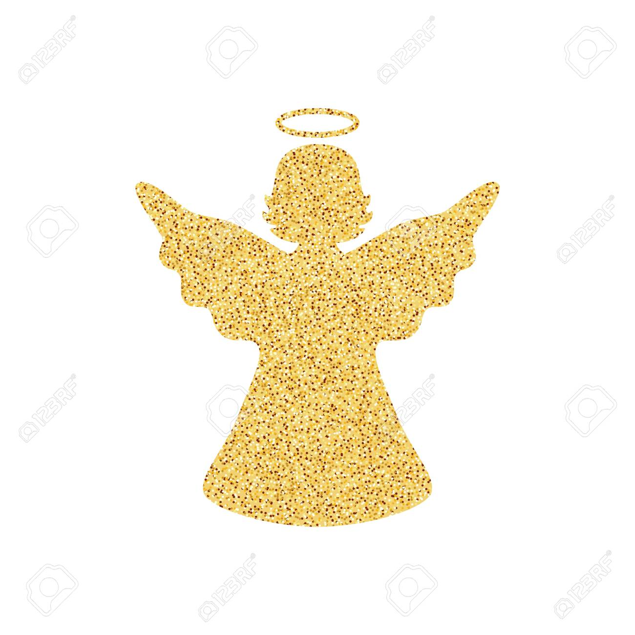 Isolated On White Background Golden Angel. Christmas Decor. Vector..  Royalty Free Cliparts, Vectors, And Stock Illustration. Image 123069806.