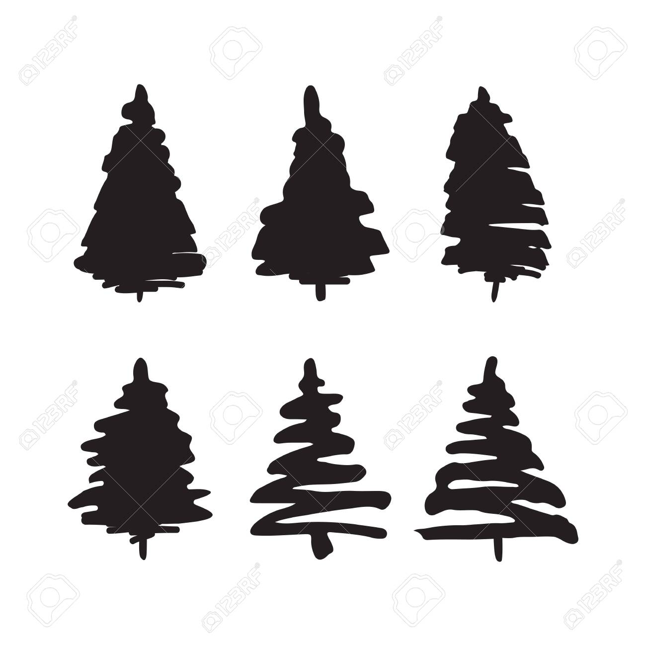 Christmas Trees Silhouette.Abstract Christmas Trees Fir Tree Silhouette Isolated On White
