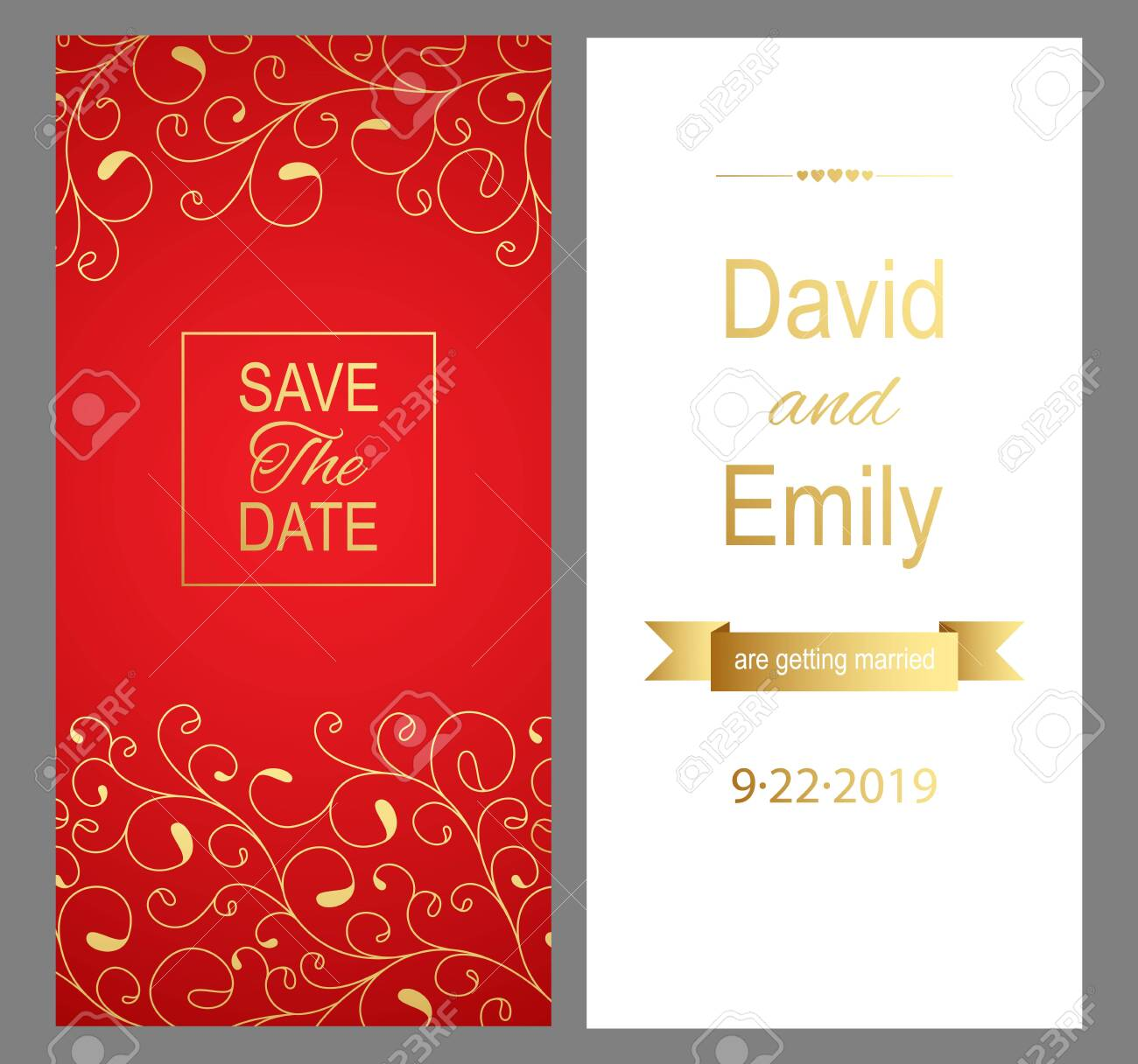 Save The Date Red Wedding Invitation Card For Your Design Vector