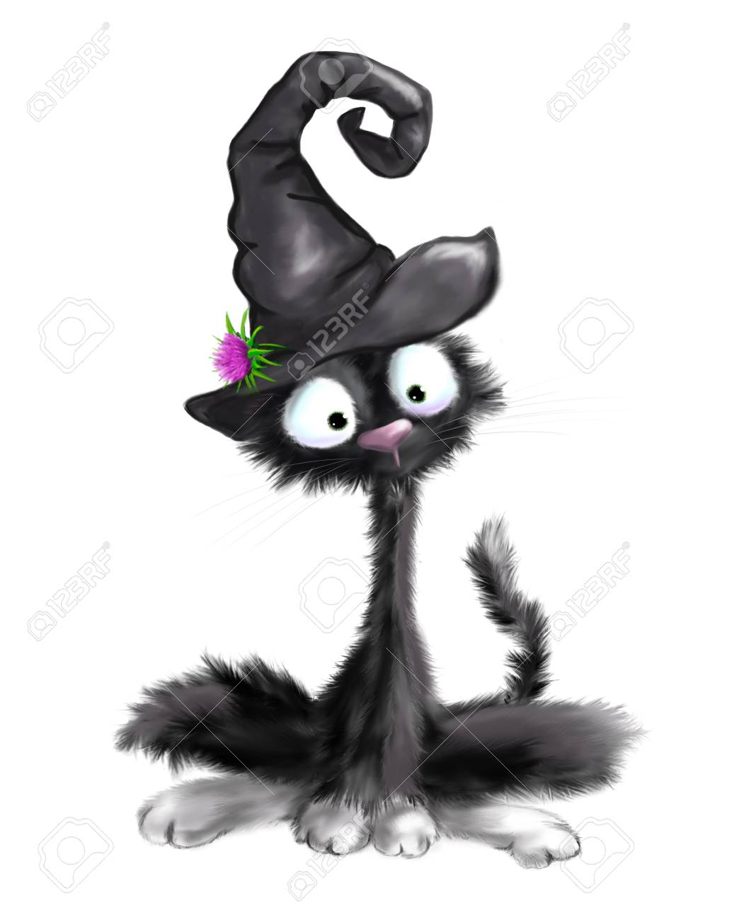 illustrated black furry cat with witch hat halloween on white