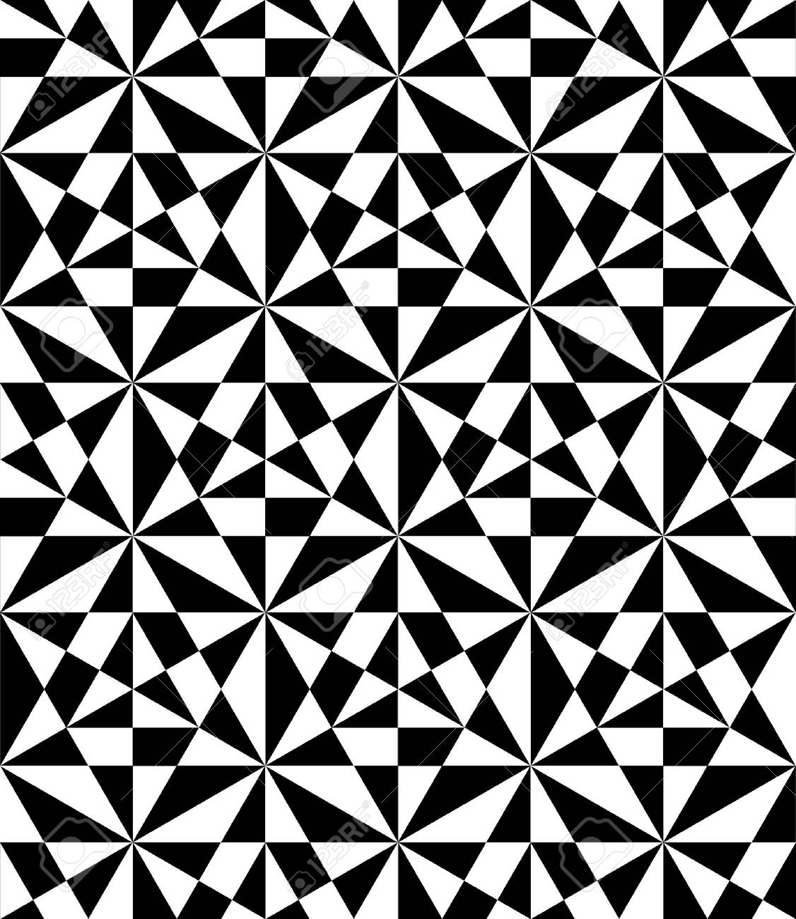 Vector modern seamless pattern, black and white print textile with illusion, abstract texture, monochrome fashion design Stock Vector - 43898340
