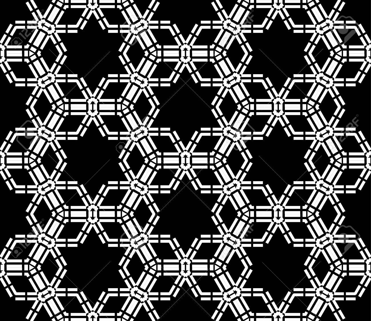 Black and white bed sheets texture - Vector Vector Modern Seamless Pattern Stars Black And White Textile Print Stylish Background Abstract Texture Monochrome Fashion Design Bed Sheets Or