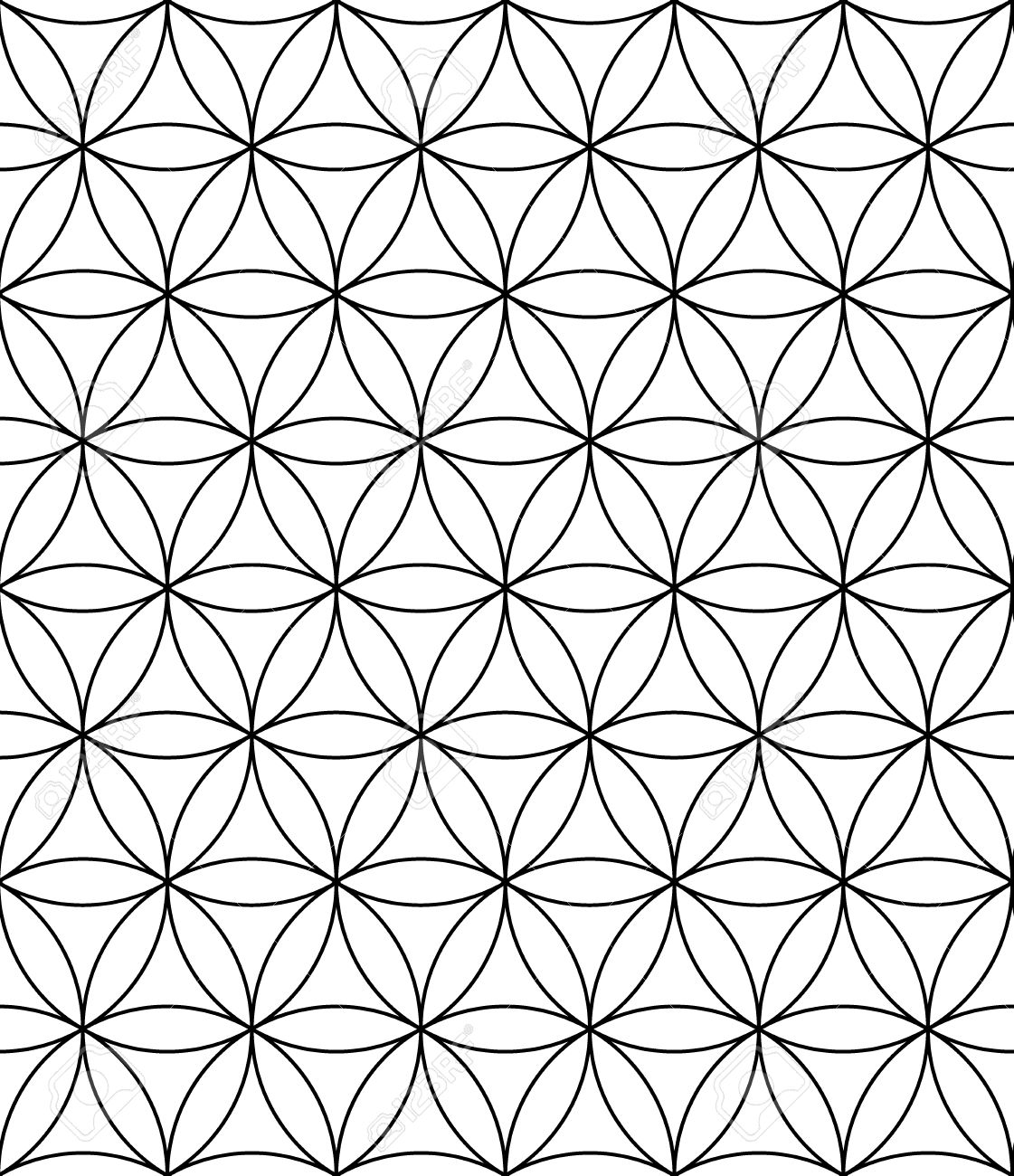 Vector Moderne Nahtlose Muster Blume Des Lebens Schwarz Weiß