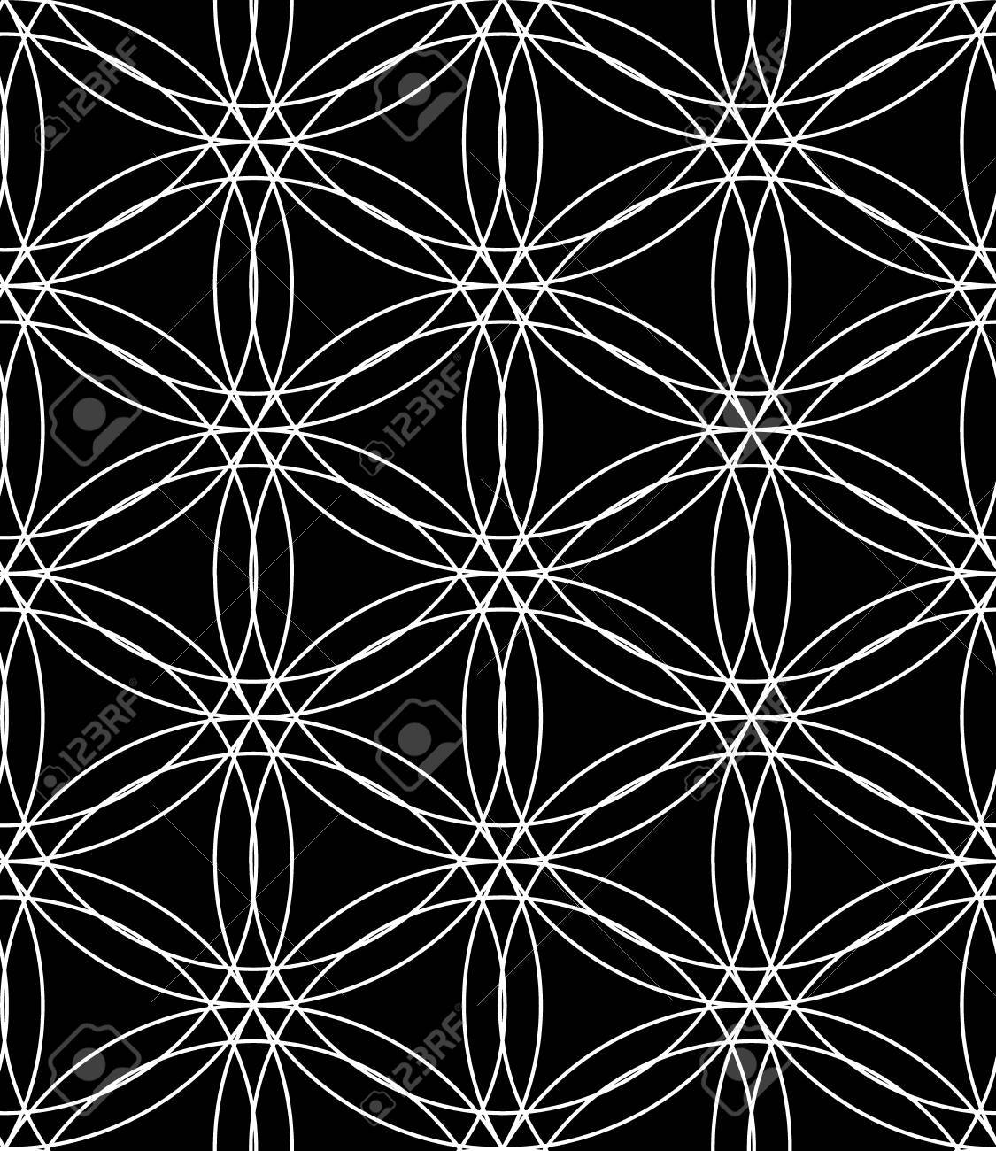 Black bed sheets pattern - Vector Vector Modern Seamless Pattern Flower Of Life Black And White Textile Print Stylish Background Abstract Texture Monochrome Fashion Design Bed