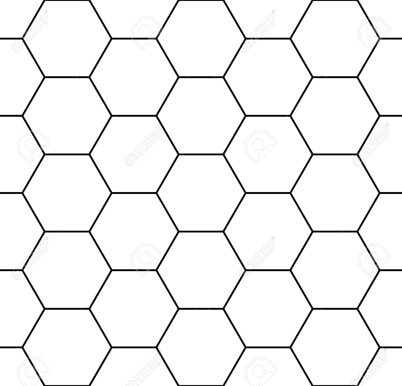 Vector modern seamless geometry pattern hexagon, black and white abstract geometric background, trendy print, monochrome retro texture, hipster fashion design - 45538813