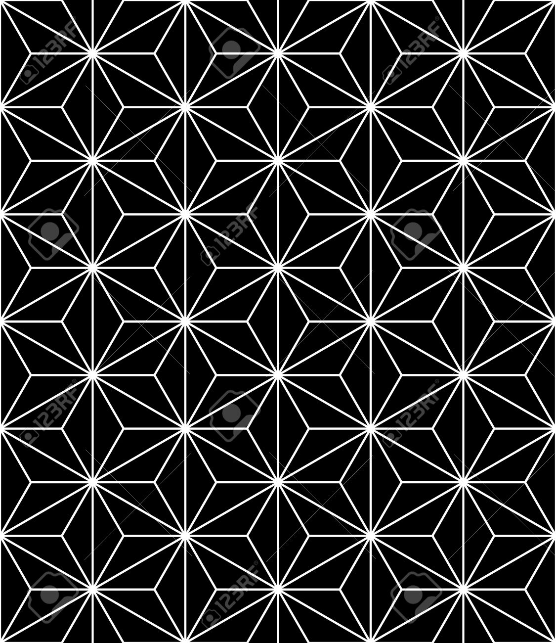 modern seamless sacred geometry pattern, black and white abstract geometric background - 46815453