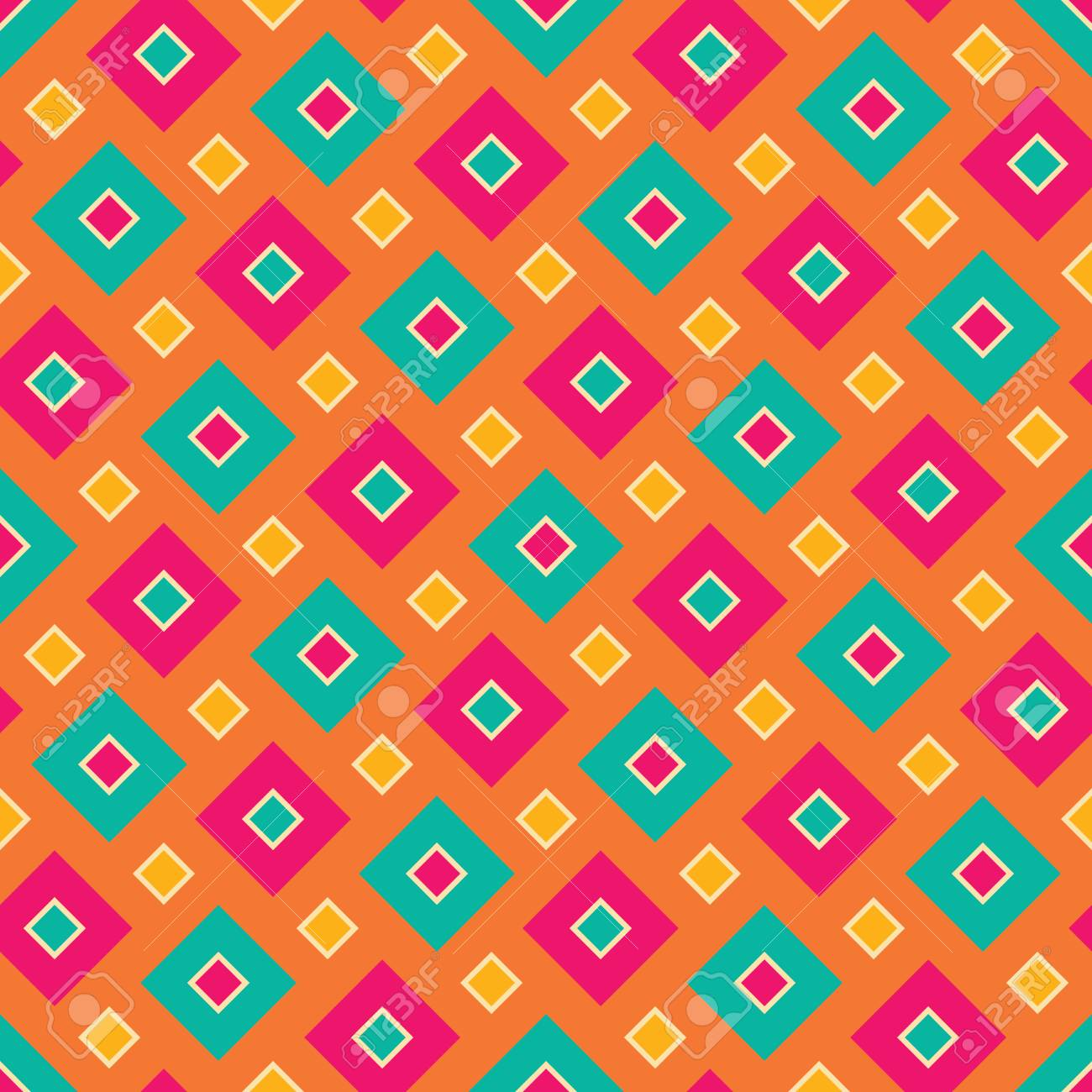 Vector modern seamless colorful geometry square pattern, color abstract geometric background, pillow multicolored print, retro texture, hipster fashion design - 49544437